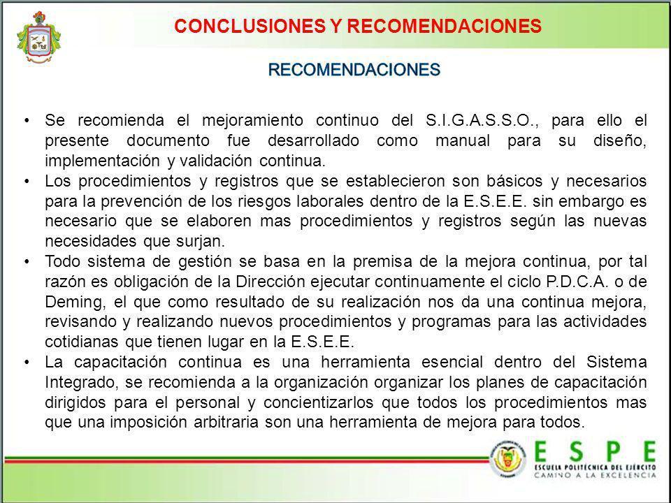 CONCLUSIONES Y RECOMENDACIONES Se recomienda el mejoramiento continuo del S.I.G.A.S.S.O., para ello el presente documento fue desarrollado como manual