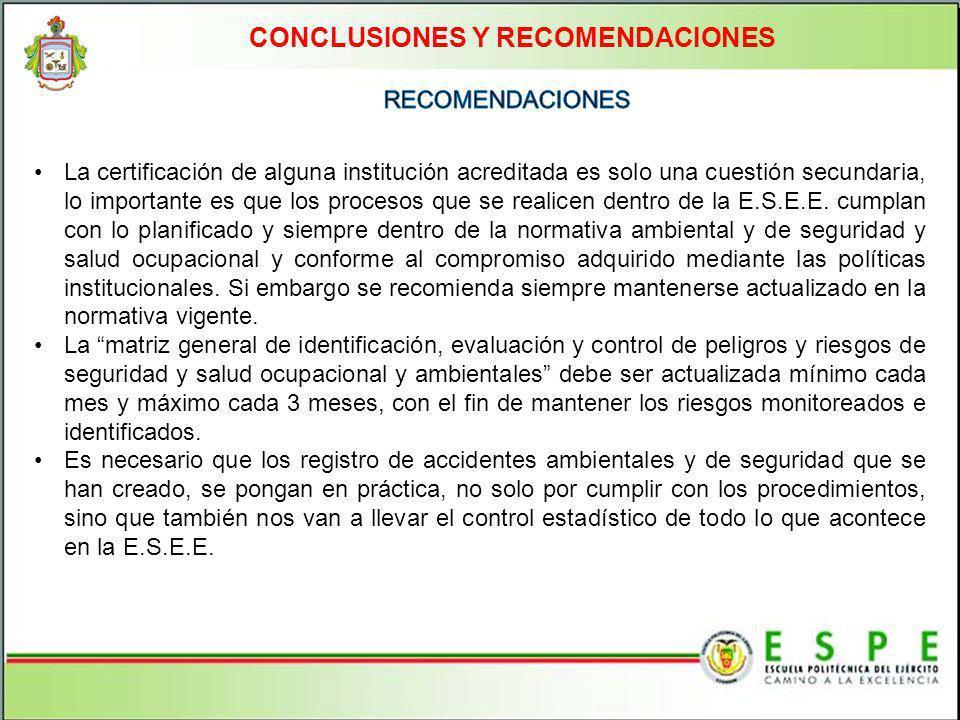 CONCLUSIONES Y RECOMENDACIONES La certificación de alguna institución acreditada es solo una cuestión secundaria, lo importante es que los procesos qu