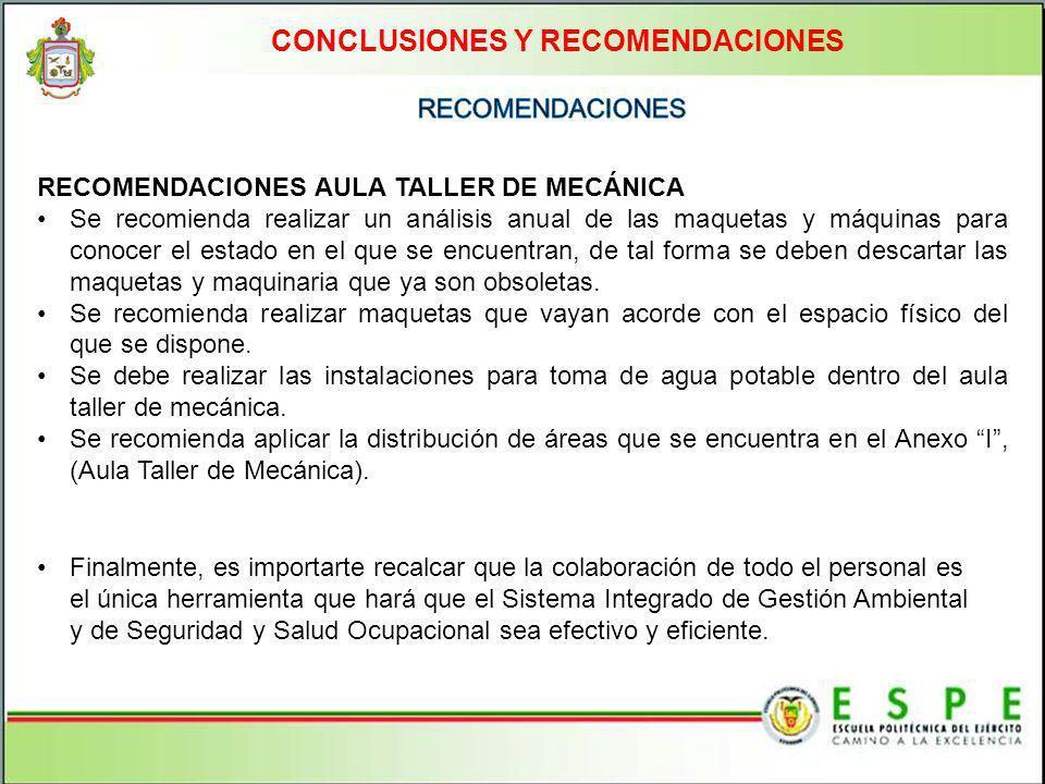 CONCLUSIONES Y RECOMENDACIONES RECOMENDACIONES AULA TALLER DE MECÁNICA Se recomienda realizar un análisis anual de las maquetas y máquinas para conoce