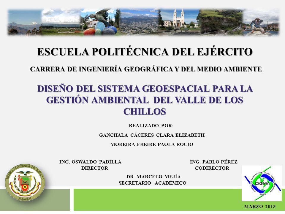 ESCUELA POLITÉCNICA DEL EJÉRCITO CARRERA DE INGENIERÍA GEOGRÁFICA Y DEL MEDIO AMBIENTE DISEÑO DEL SISTEMA GEOESPACIAL PARA LA GESTIÓN AMBIENTAL DEL VA