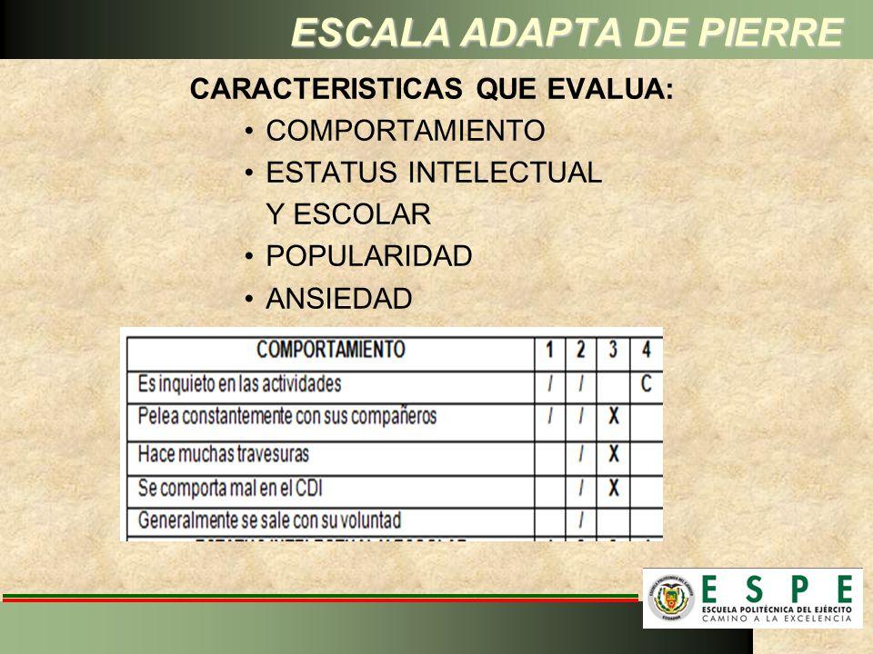 ESCALA ADAPTA DE PIERRE CARACTERISTICAS QUE EVALUA: COMPORTAMIENTO ESTATUS INTELECTUAL Y ESCOLAR POPULARIDAD ANSIEDAD