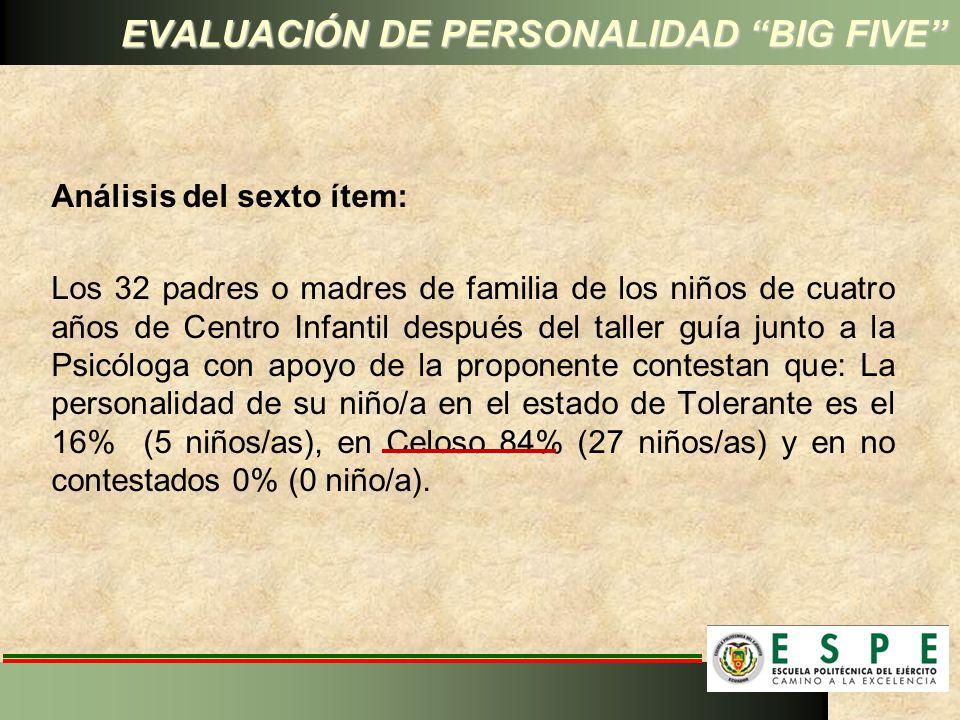 EVALUACIÓN DE PERSONALIDAD BIG FIVE Análisis del sexto ítem: Los 32 padres o madres de familia de los niños de cuatro años de Centro Infantil después