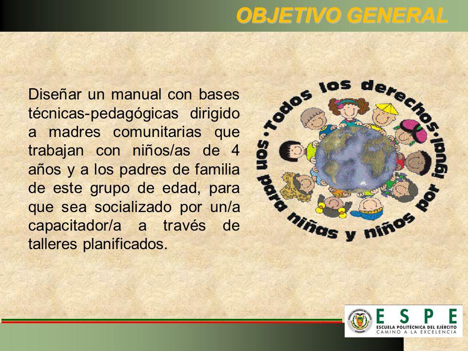 OBJETIVO GENERAL Diseñar un manual con bases técnicas-pedagógicas dirigido a madres comunitarias que trabajan con niños/as de 4 años y a los padres de