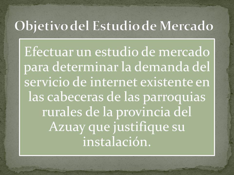 Efectuar un estudio de mercado para determinar la demanda del servicio de internet existente en las cabeceras de las parroquias rurales de la provinci