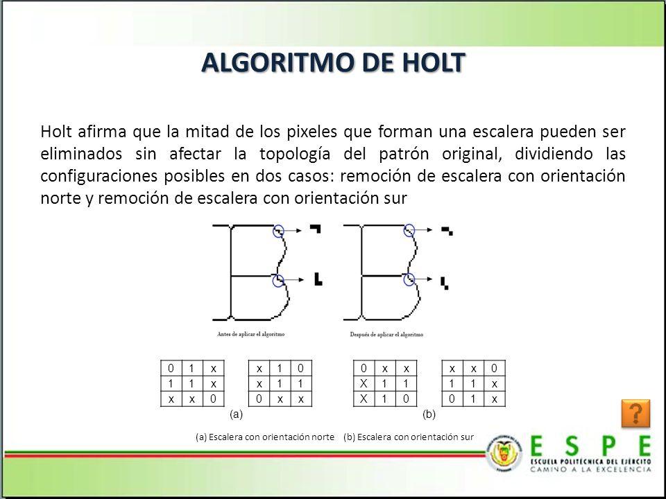 ALGORITMO DE HOLT Holt afirma que la mitad de los pixeles que forman una escalera pueden ser eliminados sin afectar la topología del patrón original, dividiendo las configuraciones posibles en dos casos: remoción de escalera con orientación norte y remoción de escalera con orientación sur 01x x10 0xx xx0 11x x11 X11 11x xx0 0xx X10 01x (a) (b) (a) Escalera con orientación norte (b) Escalera con orientación sur