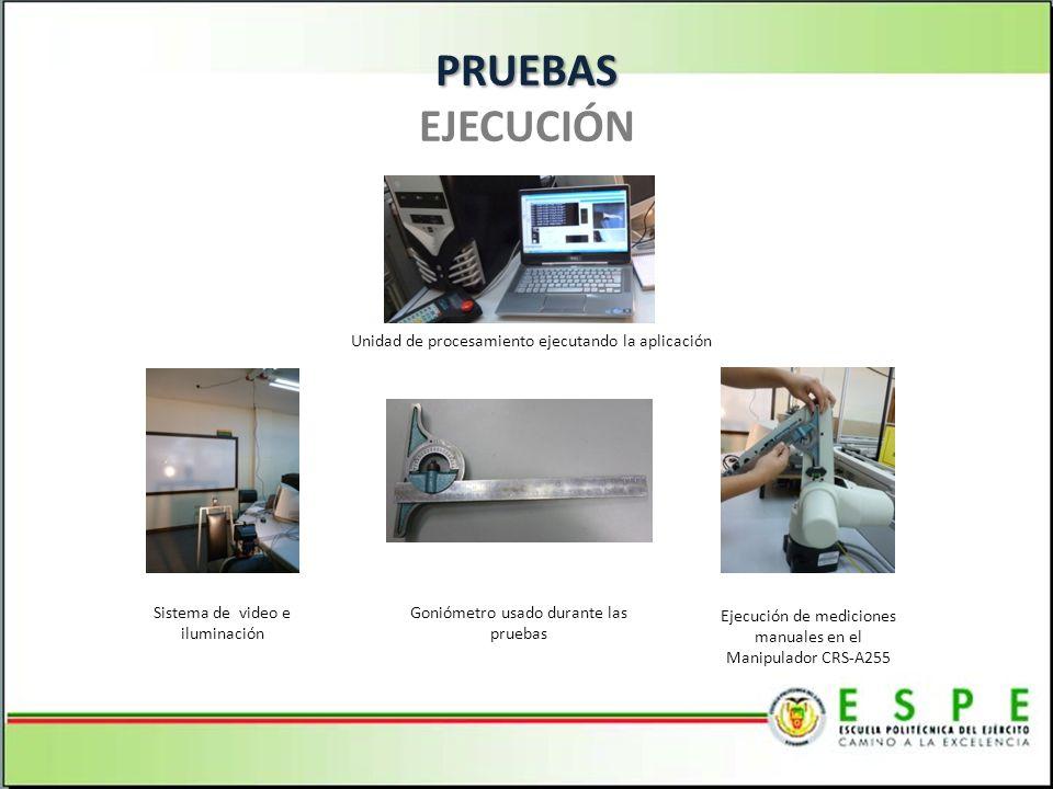 PRUEBAS PRUEBAS EJECUCIÓN Goniómetro usado durante las pruebas Unidad de procesamiento ejecutando la aplicación Sistema de video e iluminación Ejecución de mediciones manuales en el Manipulador CRS-A255