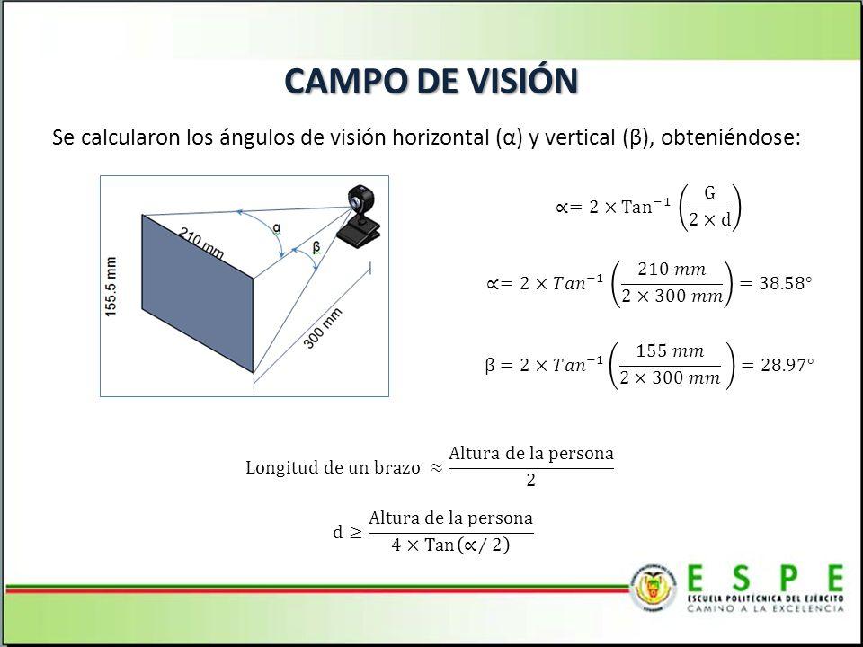 CAMPO DE VISIÓN Se calcularon los ángulos de visión horizontal (α) y vertical (β), obteniéndose: