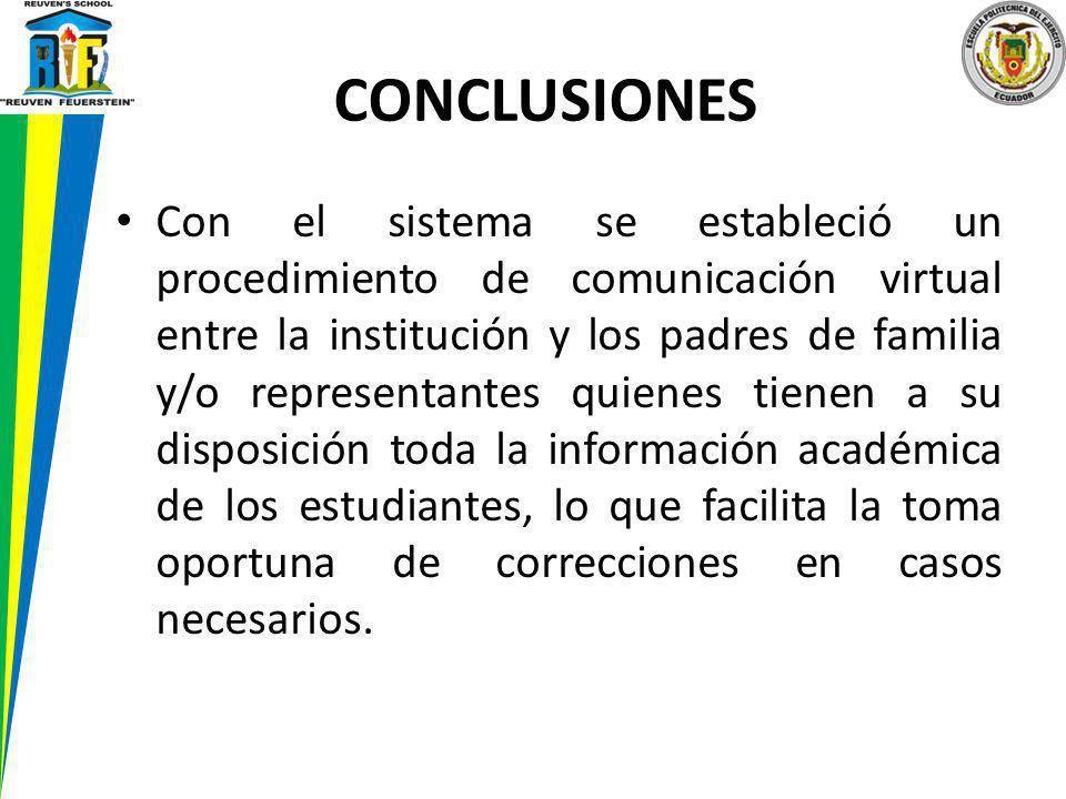 Con el sistema se estableció un procedimiento de comunicación virtual entre la institución y los padres de familia y/o representantes quienes tienen a
