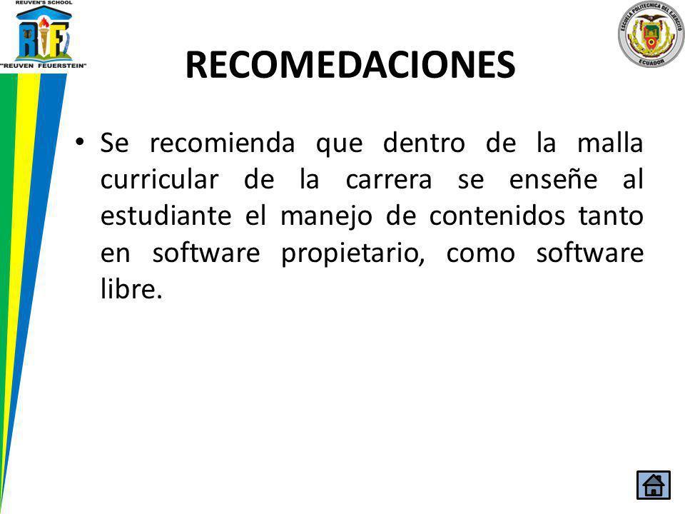 Se recomienda que dentro de la malla curricular de la carrera se enseñe al estudiante el manejo de contenidos tanto en software propietario, como soft