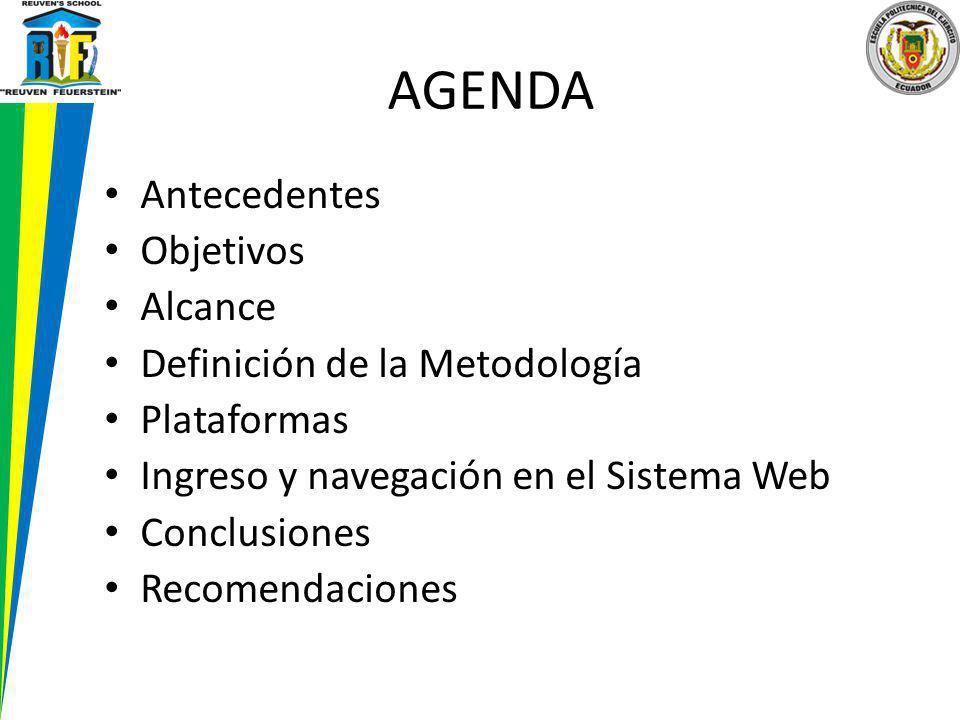 AGENDA Antecedentes Objetivos Alcance Definición de la Metodología Plataformas Ingreso y navegación en el Sistema Web Conclusiones Recomendaciones