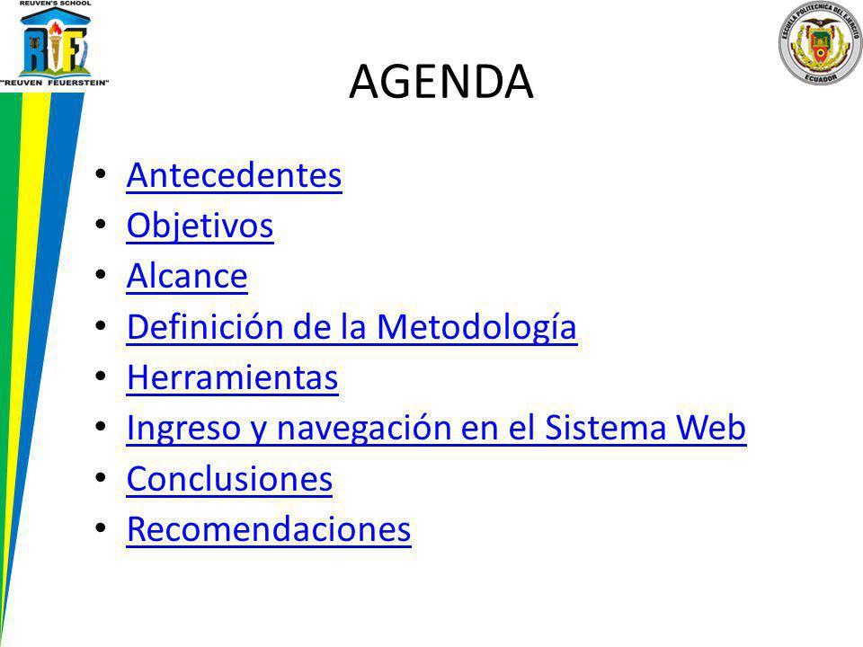 AGENDA Antecedentes Objetivos Alcance Definición de la Metodología Herramientas Ingreso y navegación en el Sistema Web Conclusiones Recomendaciones