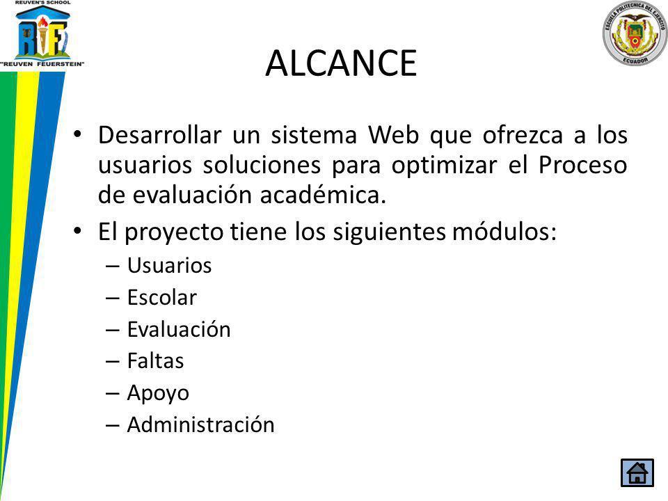 ALCANCE Desarrollar un sistema Web que ofrezca a los usuarios soluciones para optimizar el Proceso de evaluación académica. El proyecto tiene los sigu