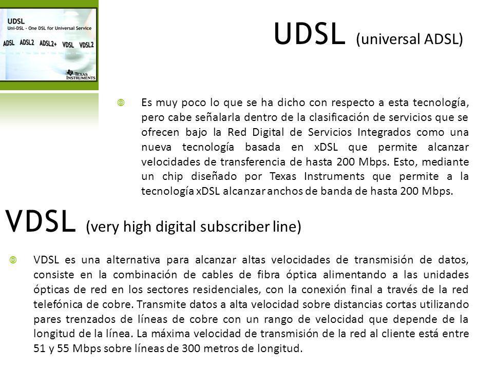 UDSL (universal ADSL) Es muy poco lo que se ha dicho con respecto a esta tecnología, pero cabe señalarla dentro de la clasificación de servicios que s