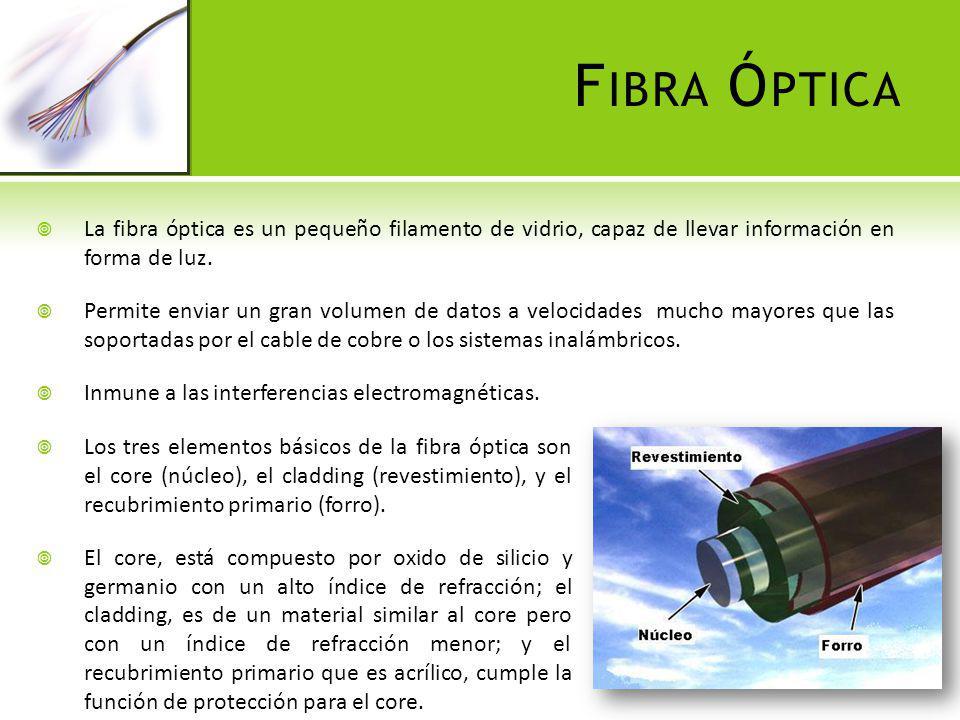 F IBRA Ó PTICA La fibra óptica es un pequeño filamento de vidrio, capaz de llevar información en forma de luz. Permite enviar un gran volumen de datos