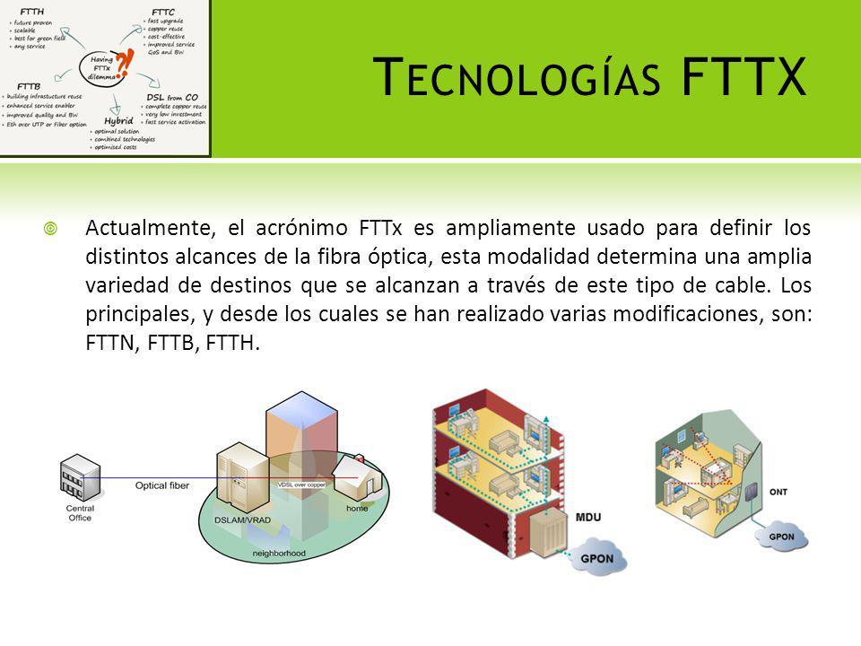 T ECNOLOGÍAS FTTX Actualmente, el acrónimo FTTx es ampliamente usado para definir los distintos alcances de la fibra óptica, esta modalidad determina