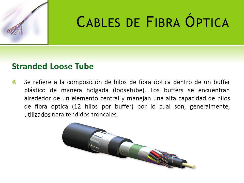 C ABLES DE F IBRA Ó PTICA Stranded Loose Tube Se refiere a la composición de hilos de fibra óptica dentro de un buffer plástico de manera holgada (loo