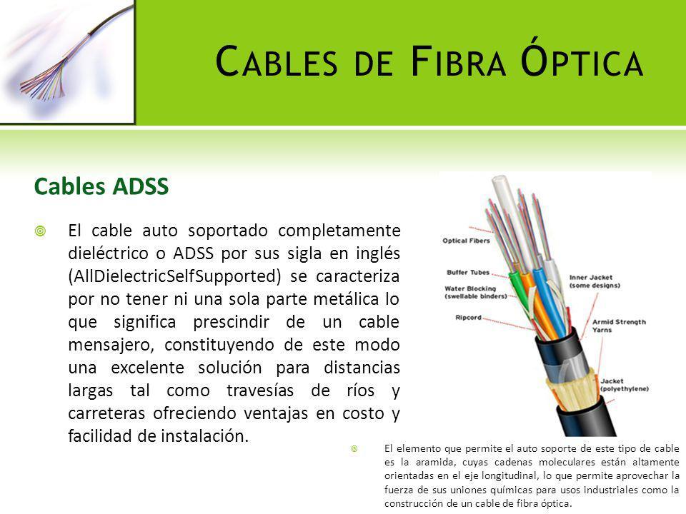 C ABLES DE F IBRA Ó PTICA Cables ADSS El cable auto soportado completamente dieléctrico o ADSS por sus sigla en inglés (AllDielectricSelfSupported) se