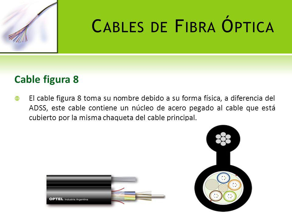 C ABLES DE F IBRA Ó PTICA Cable figura 8 El cable figura 8 toma su nombre debido a su forma física, a diferencia del ADSS, este cable contiene un núcl