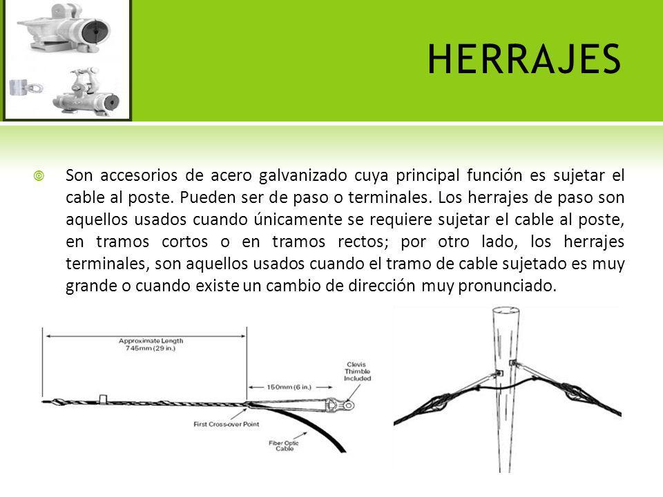 HERRAJES Son accesorios de acero galvanizado cuya principal función es sujetar el cable al poste. Pueden ser de paso o terminales. Los herrajes de pas