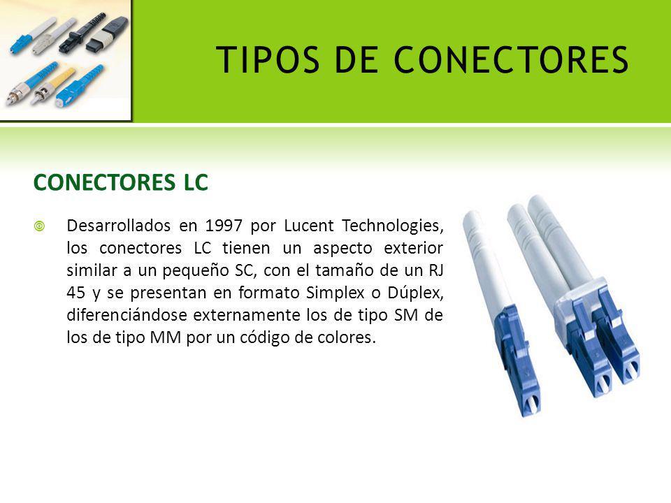 TIPOS DE CONECTORES CONECTORES LC Desarrollados en 1997 por Lucent Technologies, los conectores LC tienen un aspecto exterior similar a un pequeño SC,