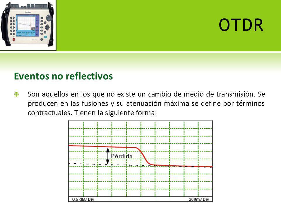 OTDR Eventos no reflectivos Son aquellos en los que no existe un cambio de medio de transmisión. Se producen en las fusiones y su atenuación máxima se