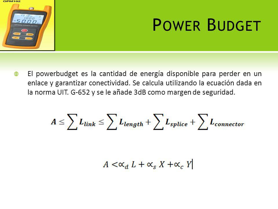 P OWER B UDGET El powerbudget es la cantidad de energía disponible para perder en un enlace y garantizar conectividad. Se calcula utilizando la ecuaci