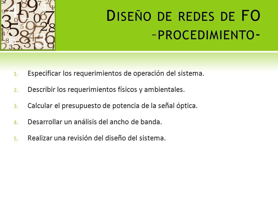 D ISEÑO DE REDES DE FO – PROCEDIMIENTO - 1. Especificar los requerimientos de operación del sistema. 2. Describir los requerimientos físicos y ambient