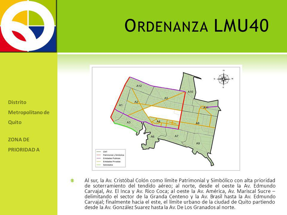 Distrito Metropolitano de Quito ZONA DE PRIORIDAD A Al sur, la Av. Cristóbal Colón como límite Patrimonial y Simbólico con alta prioridad de soterrami