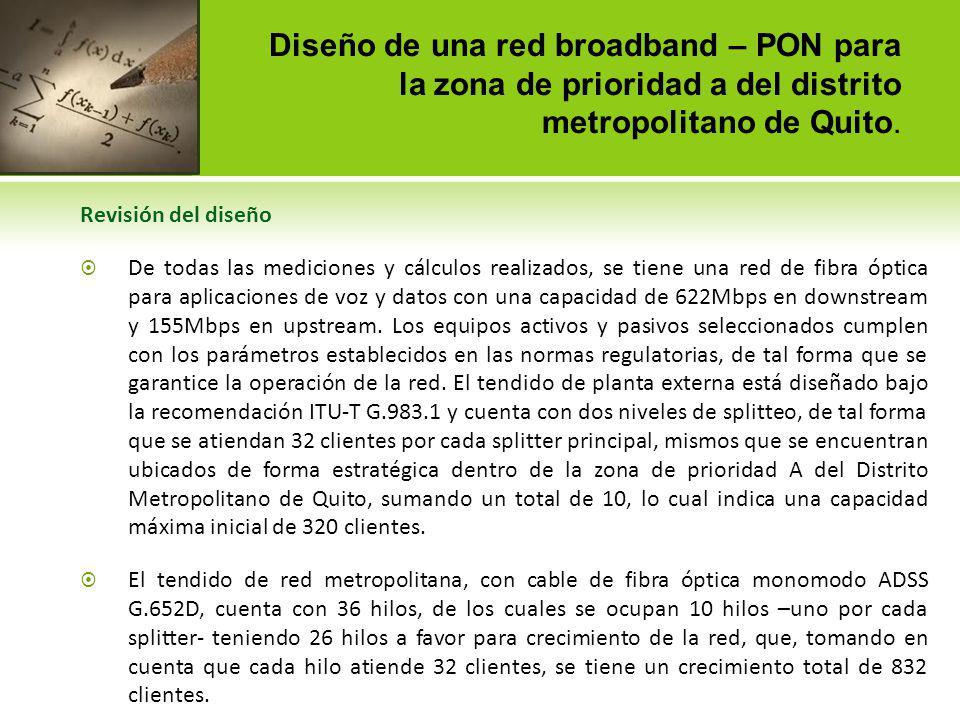Diseño de una red broadband – PON para la zona de prioridad a del distrito metropolitano de Quito. Revisión del diseño De todas las mediciones y cálcu
