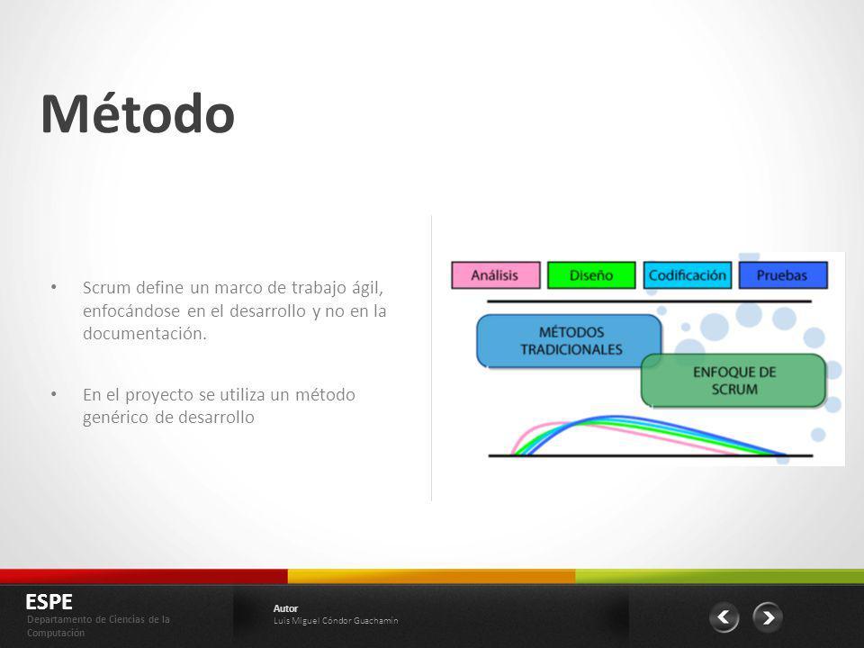 Método ESPE Departamento de Ciencias de la Computación Autor Luis Miguel Cóndor Guachamín Scrum define un marco de trabajo ágil, enfocándose en el des