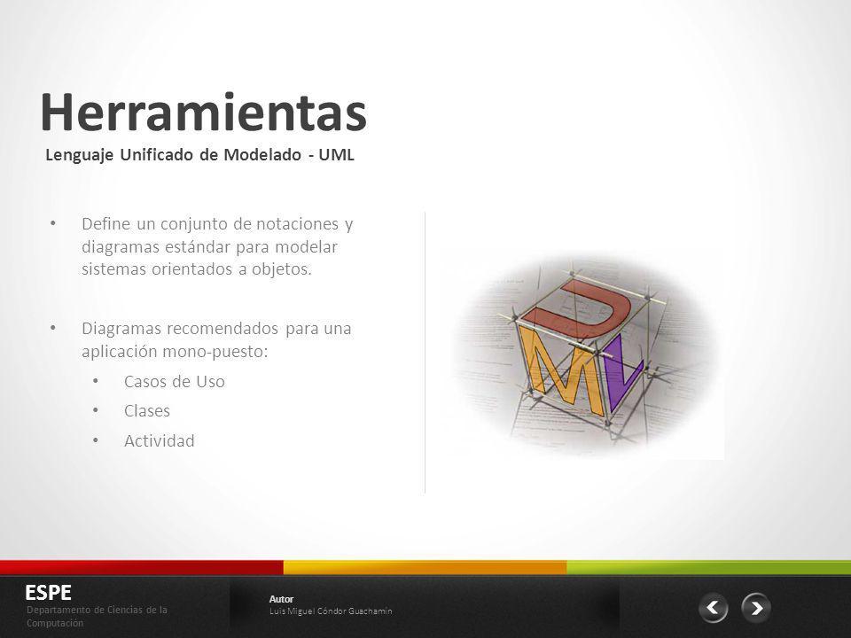 Herramientas ESPE Departamento de Ciencias de la Computación Autor Luis Miguel Cóndor Guachamín Define un conjunto de notaciones y diagramas estándar