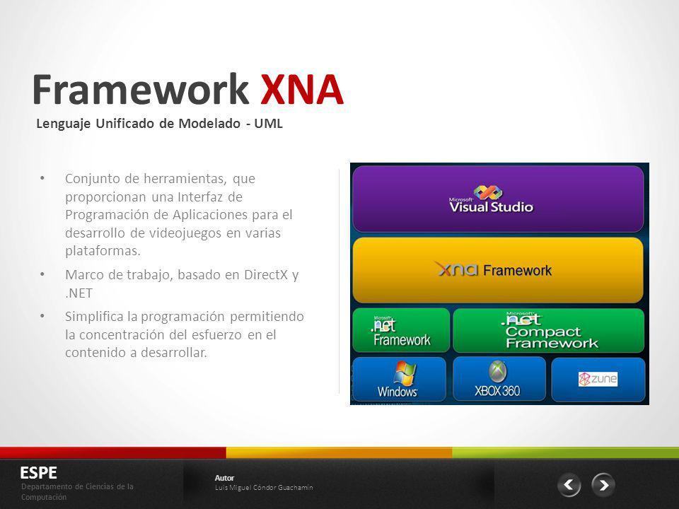 Framework XNA ESPE Departamento de Ciencias de la Computación Autor Luis Miguel Cóndor Guachamín Conjunto de herramientas, que proporcionan una Interf