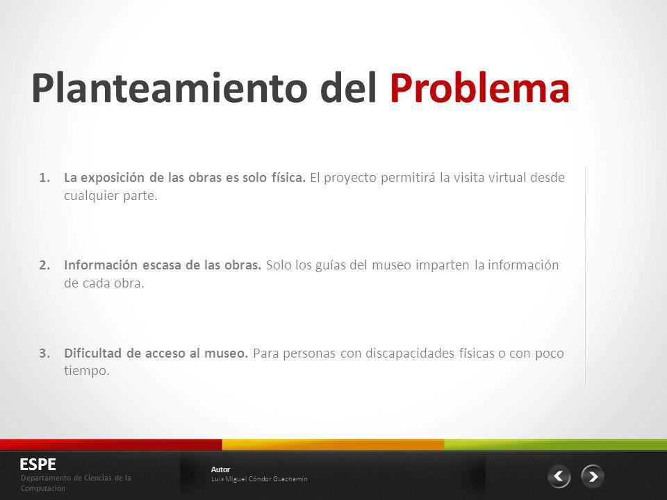 Planteamiento del Problema 1.La exposición de las obras es solo física. El proyecto permitirá la visita virtual desde cualquier parte. 2.Información e