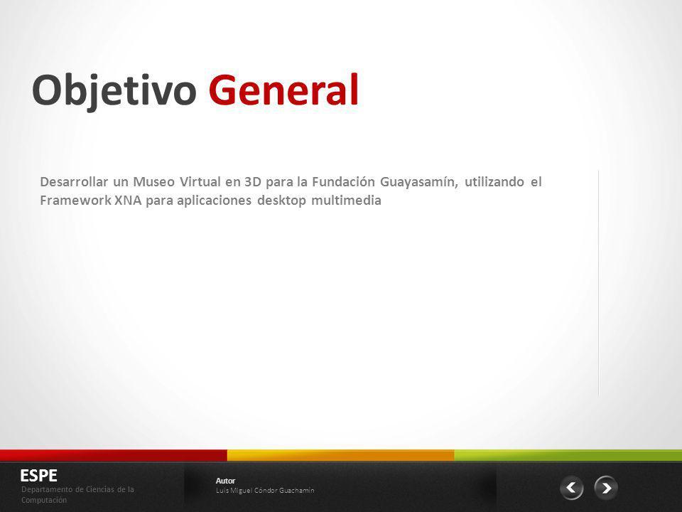 Objetivo General Desarrollar un Museo Virtual en 3D para la Fundación Guayasamín, utilizando el Framework XNA para aplicaciones desktop multimedia ESP