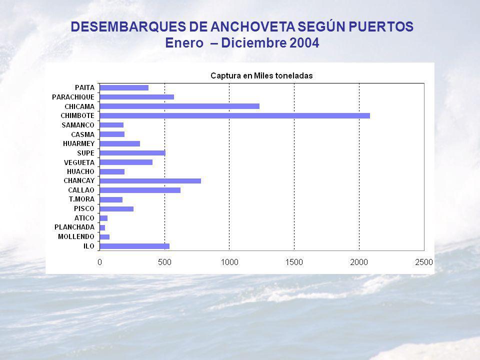 DESEMBARQUES DE ANCHOVETA SEGÚN PUERTOS Enero – Diciembre 2004