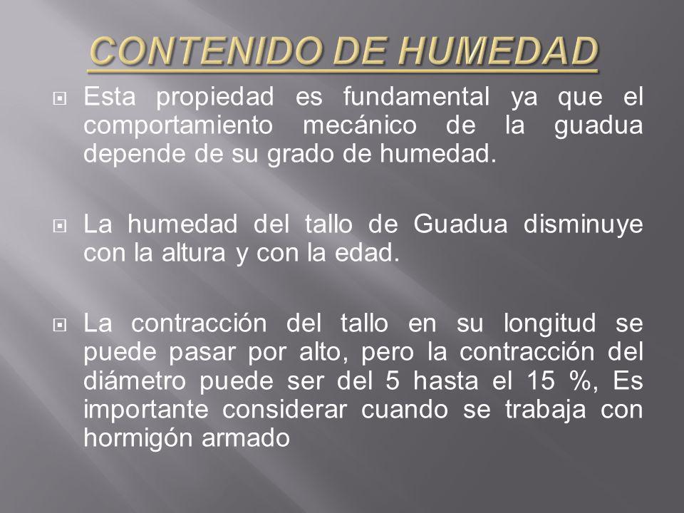 Esta propiedad es fundamental ya que el comportamiento mecánico de la guadua depende de su grado de humedad.