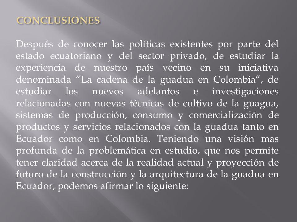 Todos los aspectos que hemos tratado anteriormente en la presente investigación, en relación con producción y comercialización de la guadua angustifolia para el Ecuador, deberán contar con un amplio respaldo académico de universidades e institutos de investigación, para que finalmente exista una verdadera Cultura de la Guadua en Ecuador.