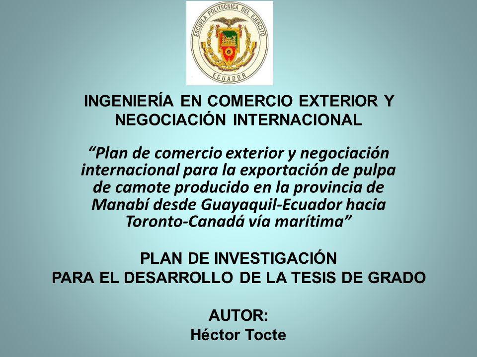 El Ecuador posee cultivos de camote (INIA-100) de gran calidad en la provincia de Manabí Existen en el mercado canadiense grandes oportunidades para productos derivados del camote El término de negociación utilizado es el FOB, forma de pago carta de crédito La SENAE ha establecido un nuevo sistema aduanero denominado ECUAPASS Peso físico de los 3 pallets 1866,5 Evaluación financiera confirma viabilidad del proyecto CONCLUSIONESRECOMENDACIONES Dar a conocer el proyecto a los agricultores de la zona para promover el cultivo y la producción del camote Aprovechar las oportunidades que se presentan en los mercados internacionales Se debe negociar un Incoterms el mismo que facilite las operaciones Tener los conocimientos adecuados y necesarios sobre el ECUAPASS y así evitar contratiempos durante el tramite.