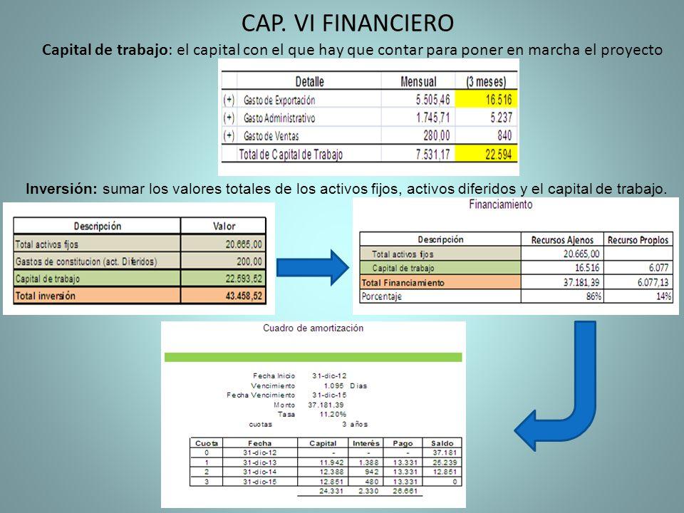 Capital de trabajo: el capital con el que hay que contar para poner en marcha el proyecto CAP. VI FINANCIERO Inversión: sumar los valores totales de l