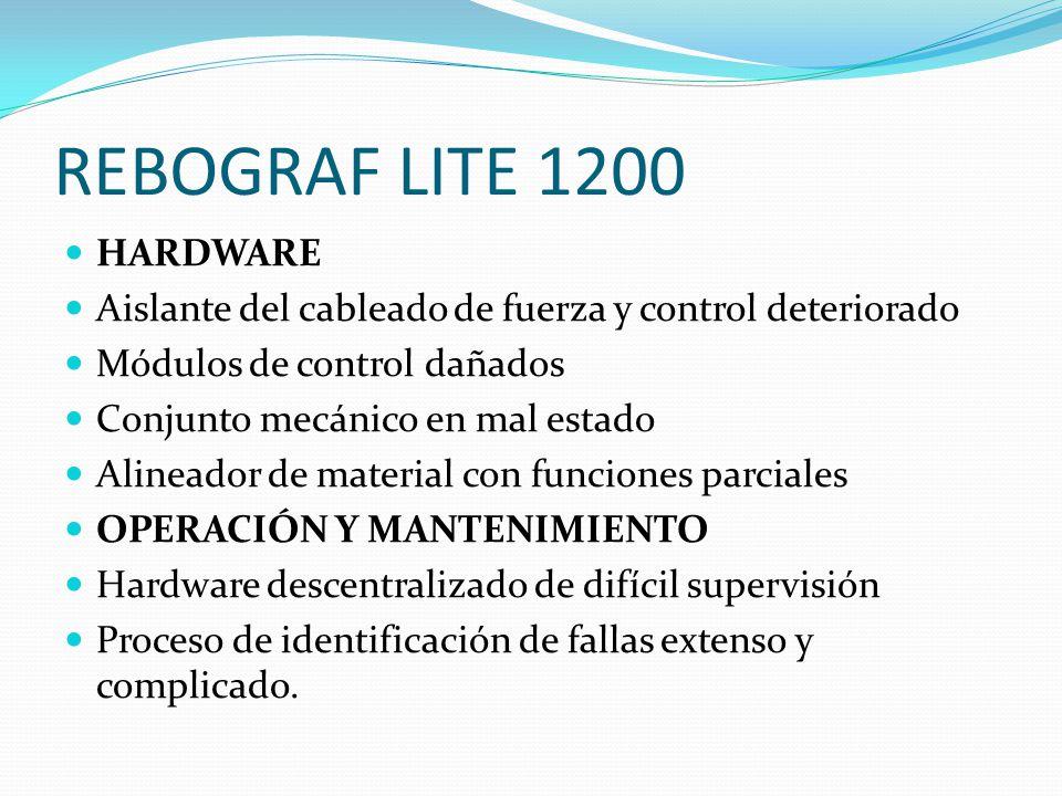 REBOGRAF LITE 1200 HARDWARE Aislante del cableado de fuerza y control deteriorado Módulos de control dañados Conjunto mecánico en mal estado Alineador