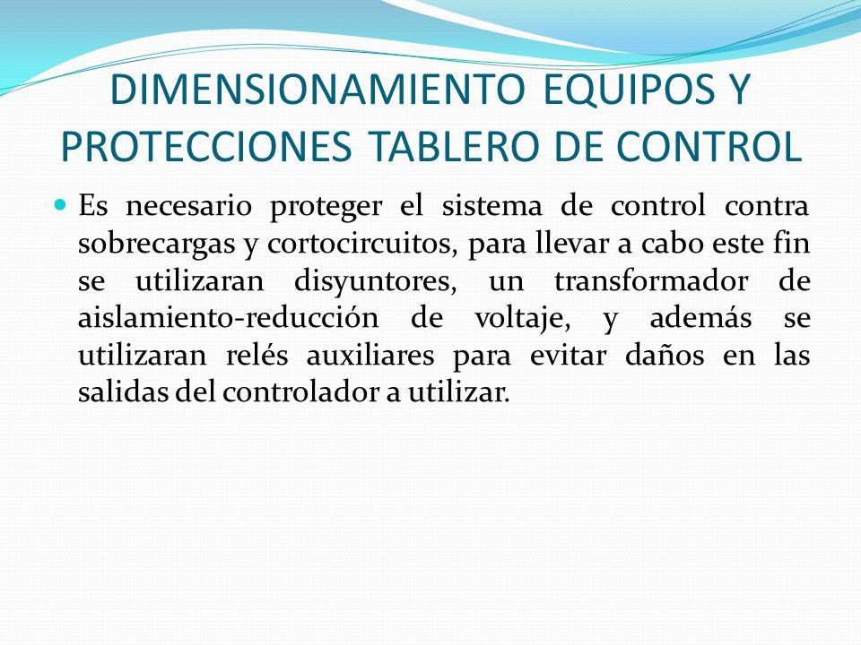 DIMENSIONAMIENTO EQUIPOS Y PROTECCIONES TABLERO DE CONTROL Es necesario proteger el sistema de control contra sobrecargas y cortocircuitos, para lleva