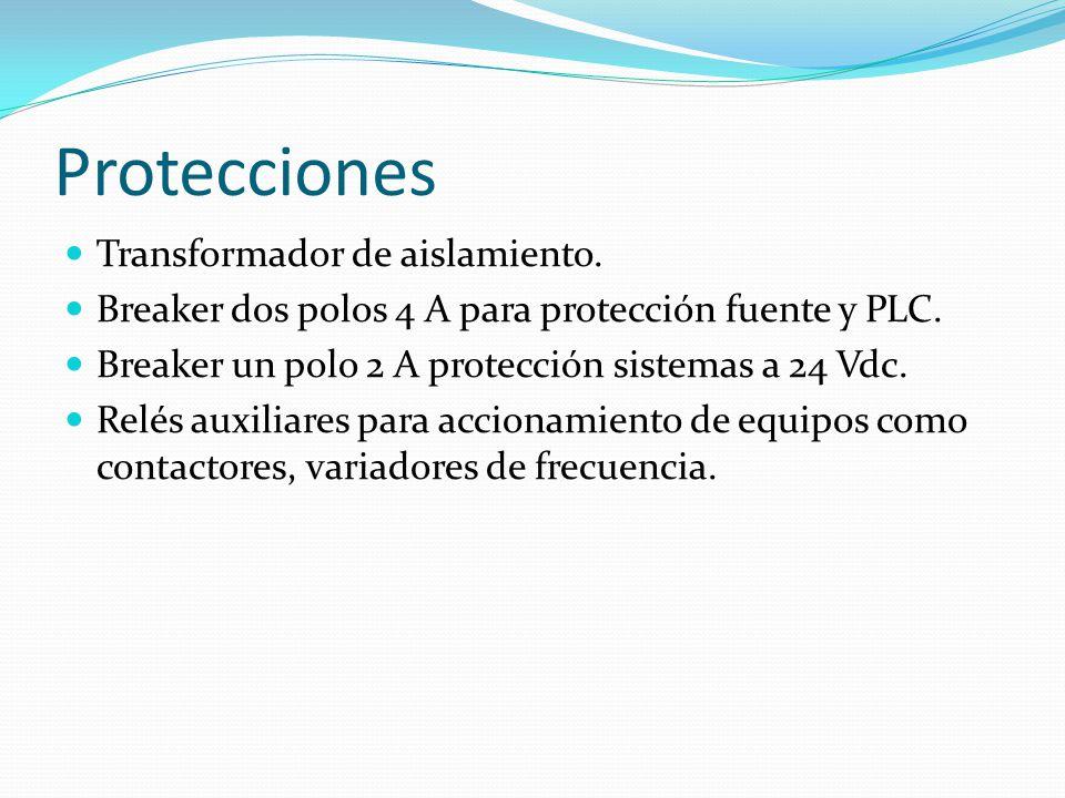 Protecciones Transformador de aislamiento. Breaker dos polos 4 A para protección fuente y PLC. Breaker un polo 2 A protección sistemas a 24 Vdc. Relés