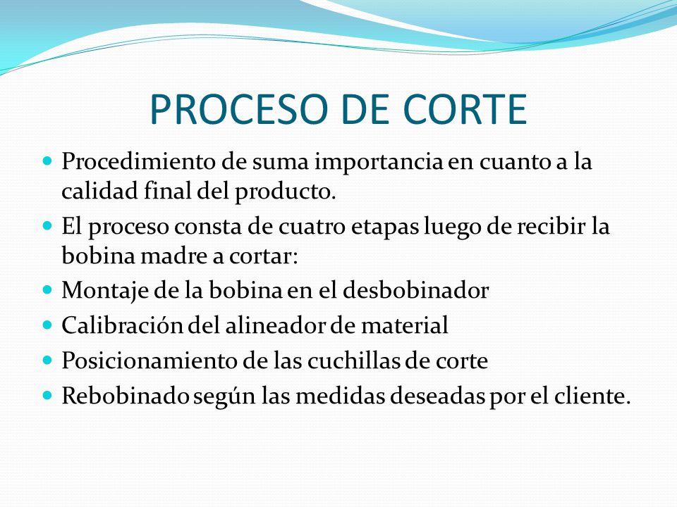 PROCESO DE CORTE Procedimiento de suma importancia en cuanto a la calidad final del producto. El proceso consta de cuatro etapas luego de recibir la b