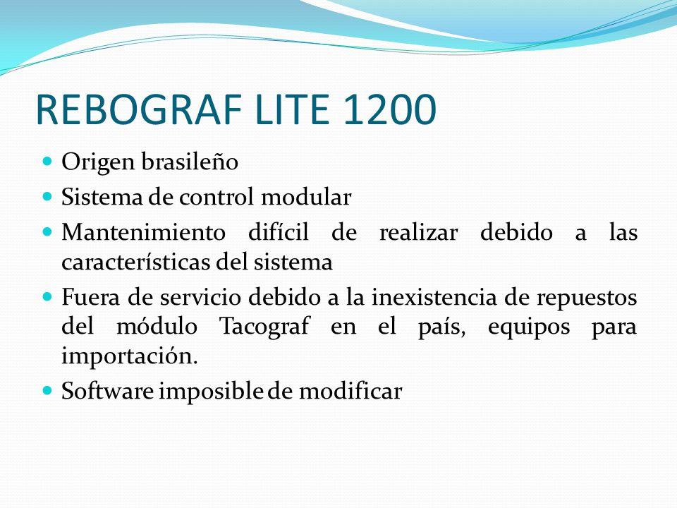 REBOGRAF LITE 1200 Origen brasileño Sistema de control modular Mantenimiento difícil de realizar debido a las características del sistema Fuera de ser