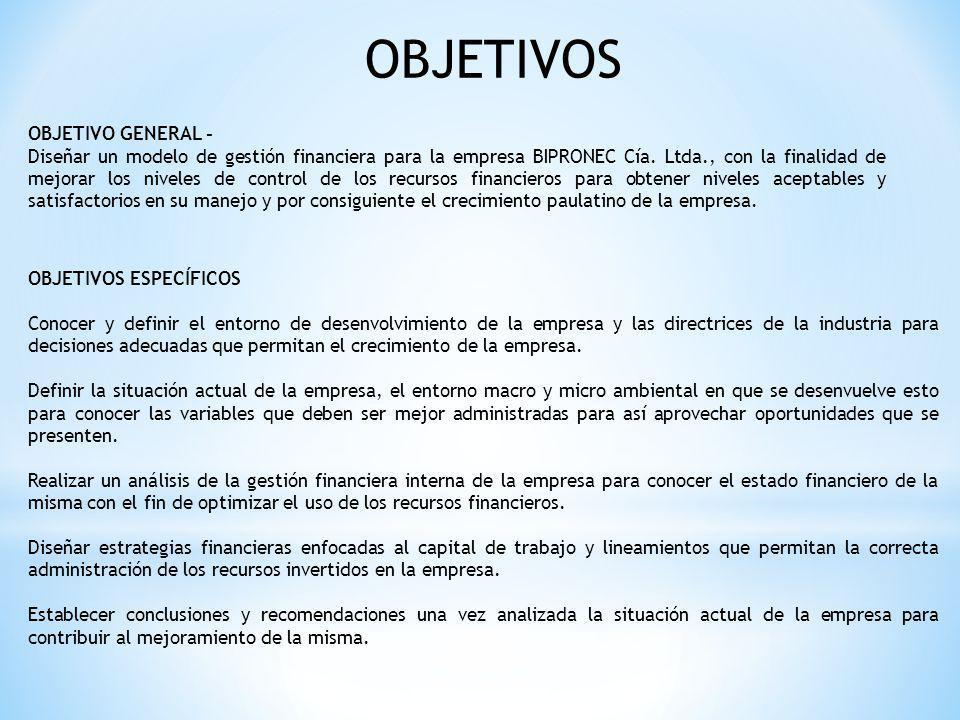 OBJETIVOS OBJETIVO GENERAL - Diseñar un modelo de gestión financiera para la empresa BIPRONEC Cía. Ltda., con la finalidad de mejorar los niveles de c