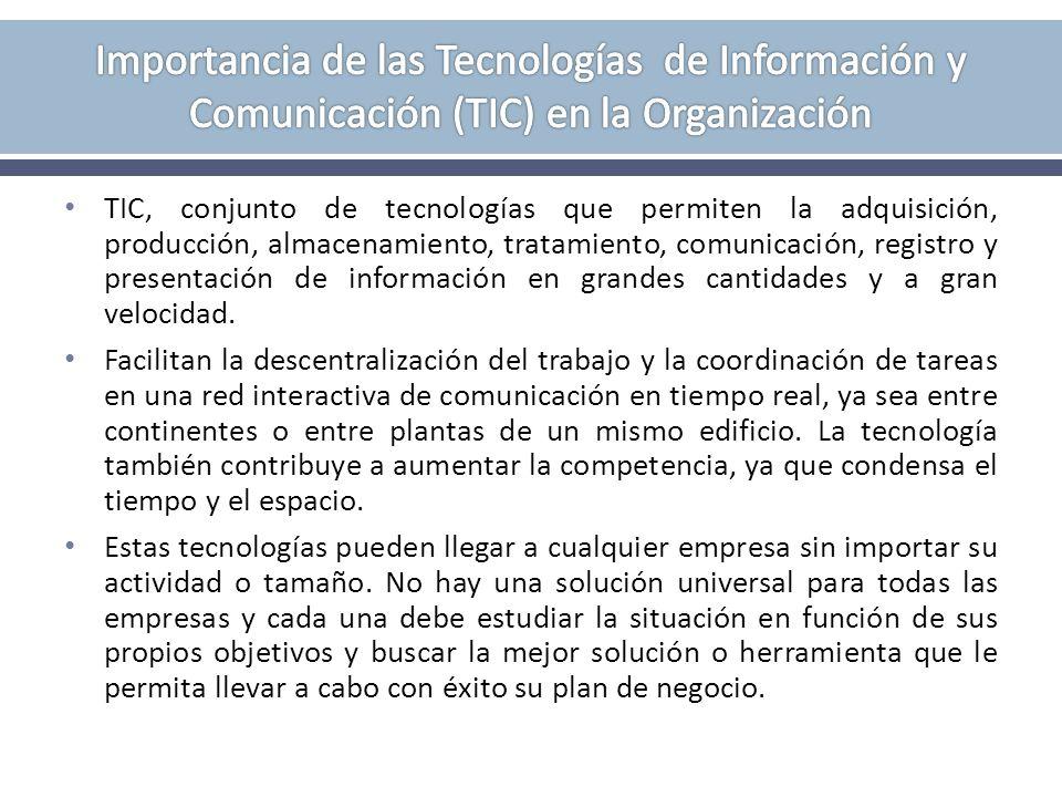 TIC, conjunto de tecnologías que permiten la adquisición, producción, almacenamiento, tratamiento, comunicación, registro y presentación de informació