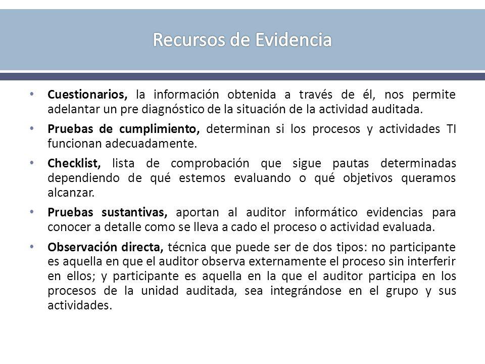 Cuestionarios, la información obtenida a través de él, nos permite adelantar un pre diagnóstico de la situación de la actividad auditada. Pruebas de c