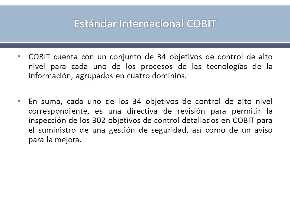 COBIT cuenta con un conjunto de 34 objetivos de control de alto nivel para cada uno de los procesos de las tecnologías de la información, agrupados en cuatro dominios.