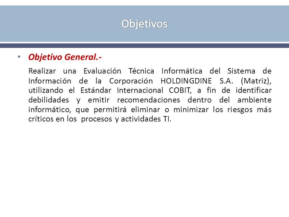 Objetivo General.- Realizar una Evaluación Técnica Informática del Sistema de Información de la Corporación HOLDINGDINE S.A. (Matriz), utilizando el E