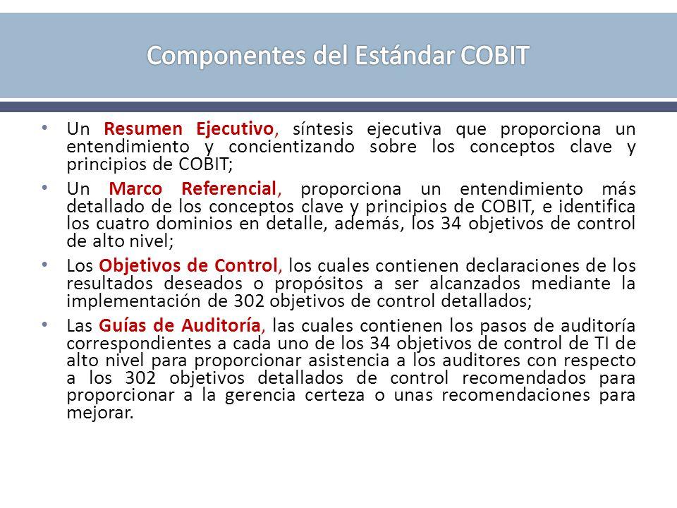 Un Resumen Ejecutivo, síntesis ejecutiva que proporciona un entendimiento y concientizando sobre los conceptos clave y principios de COBIT; Un Marco Referencial, proporciona un entendimiento más detallado de los conceptos clave y principios de COBIT, e identifica los cuatro dominios en detalle, además, los 34 objetivos de control de alto nivel; Los Objetivos de Control, los cuales contienen declaraciones de los resultados deseados o propósitos a ser alcanzados mediante la implementación de 302 objetivos de control detallados; Las Guías de Auditoría, las cuales contienen los pasos de auditoría correspondientes a cada uno de los 34 objetivos de control de TI de alto nivel para proporcionar asistencia a los auditores con respecto a los 302 objetivos detallados de control recomendados para proporcionar a la gerencia certeza o unas recomendaciones para mejorar.